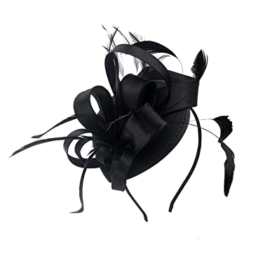 5e31274e Felizhouse Satin Feather Fascinator Hats Headband for Women, Cocktail Tea  Party Royal Ascot Costume Headwear