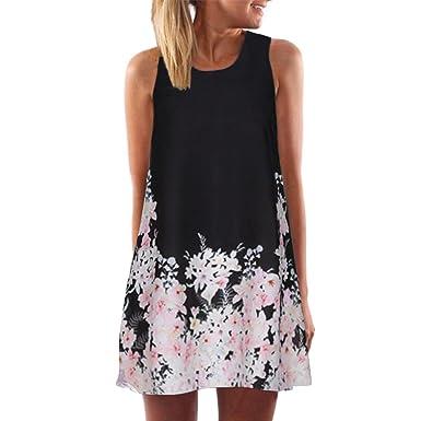 a0f76dfd65 POTO Dress,Women Sleeveless Vintage Boho Printed Summer Short Mini Dress  Casual Beach Dress Sundress