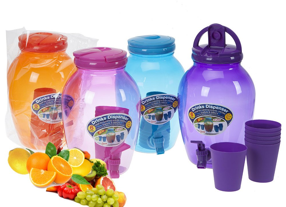 Non Glass Kids in The Garden Drinks Water Jug with Tap Dispenser Party Beverage 4LTR Bulb Shaped (Orange) Meghan Juice Water Serving PMS International