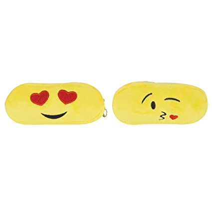 Amazon.com: chords Pack of 2 Plush Emoji Pencil Pouches for Girls ...