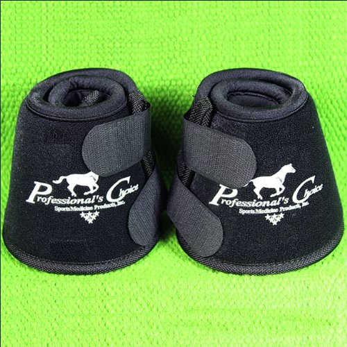 Professionals Choice Equine Quick Wrap Hoof Bell Boot, Pair (Large, Black) by Professional's Choice