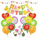 fruits party - LUCK COLLECTION Tutti Frutti Party Decorations Fruit Happy Birthday Banner Fruit Balloons Cupcake Toppers for Birthday Luau Fruit Themed Party Decorations