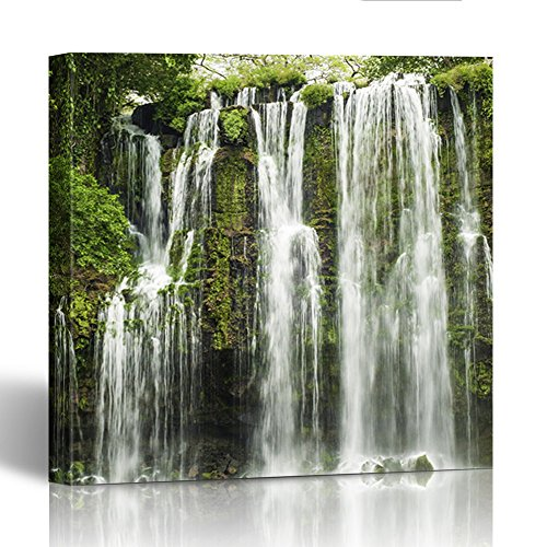(Emvency Painting Canvas Print Wooden Frame Nature Llanos De Cortez Waterfall Located in Costa Rica Beautiful Cascade Cliff 12x12 Inches Wall Art)