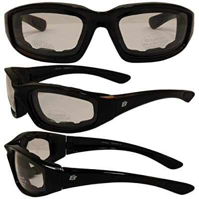 Birdz Eyewear Oriole Padded Motorcycle Glasses (Black Frame/Clear Lens): Automotive