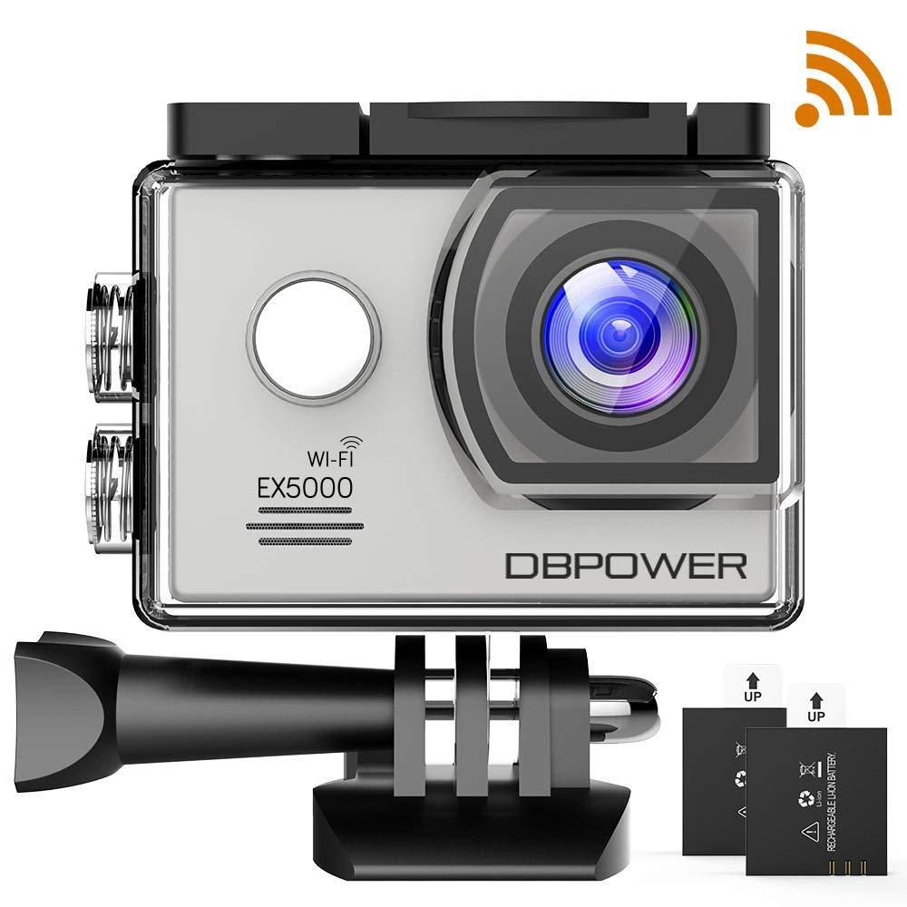 dbpower Authentique Action Camera y de Deporte Impermeable EX5000WiFi 14MP Full HD con 2baterías améliorées y Accesorios gratuitos
