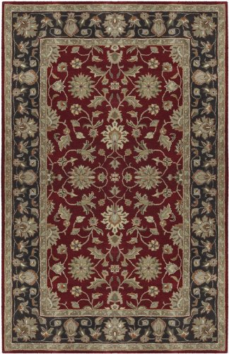 Surya Crowne CRN-6013 Classic Hand Tufted 100% Wool Maroon 2'6'' x 8' Traditional Runner by Surya