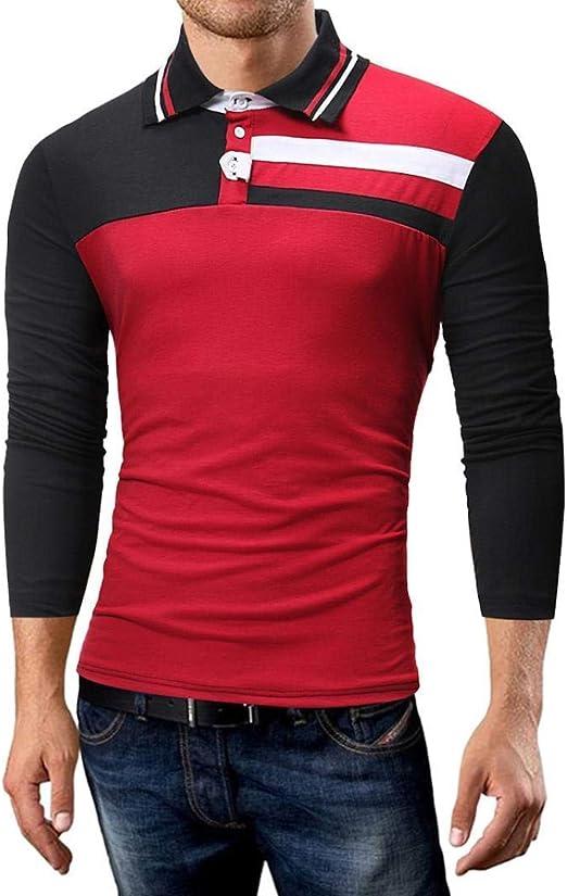 Qiusa Camiseta de Manga Larga para Hombre, Camisetas de Polo para ...