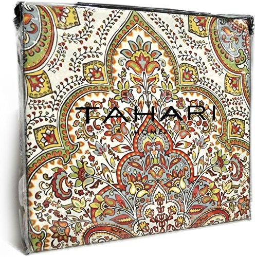 Tahari Home 3pc Duvet Cover Set Paisley Medallion Silver: Tahari Home Red Orange Sage Full Queen Duvet Cover 3pc Set