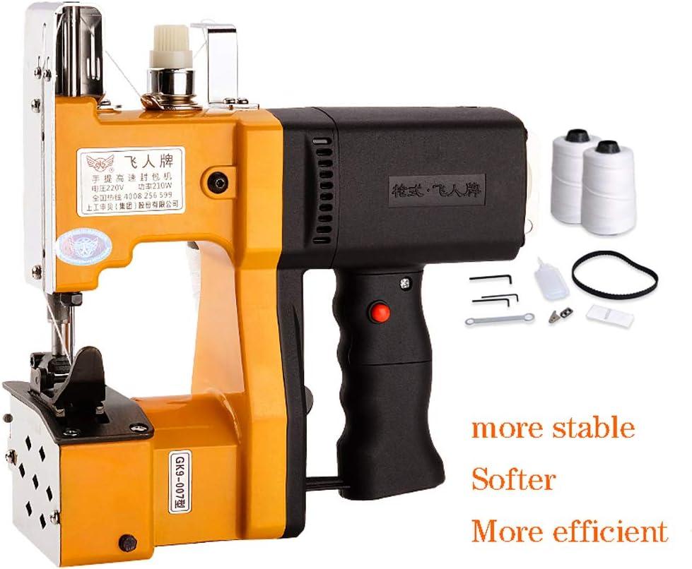 HYDD Máquina de Coser,Máquina de Coser eléctrica portátil,Adecuado para Coser Bolsas de mensajería,Bolsas de arroz,Bolsas de Papel Kraft,Bolsas Tejidas,Sacos,etc,Amarillo.: Amazon.es: Hogar