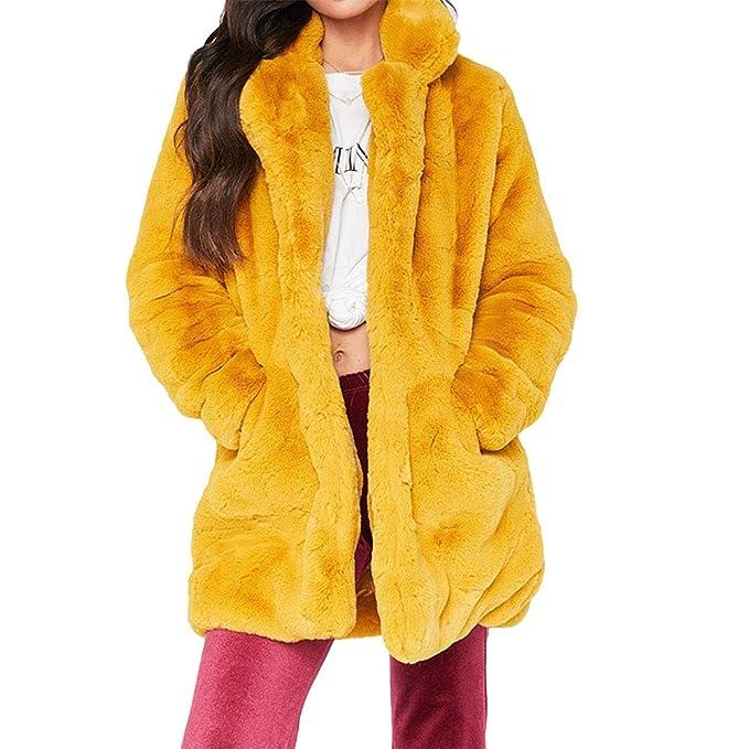 jipai TM Holgado Abrigo Largo de Vellón y Pelaje en Color Liso y Brillante  de Mujer 4830d135a39