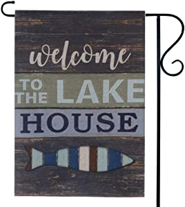 LINKWELL Vintage Welcome to The Lake House Small Garden Flag Double Sided 12.5 x 18 Inch Yard Flag Small Outdoor Home Decorations GF24