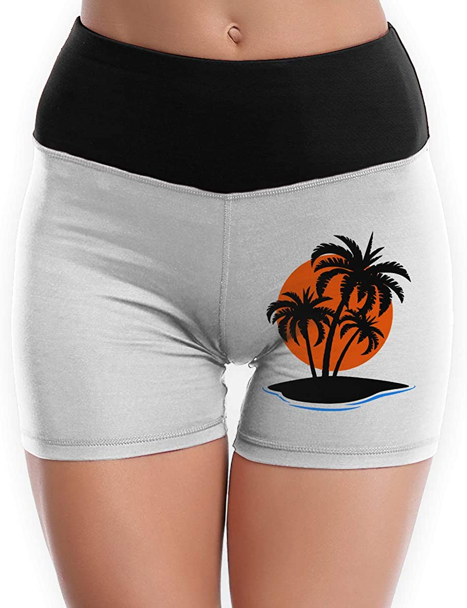 Womens Yoga Shorts Island with Palm Trees and Sunset Comfy Athletic Shorts