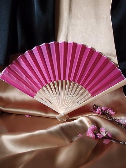 "10 9/"" Fuchsia Hot Pink Chinese Folding Accordion Paper Hand Fan for Weddings"