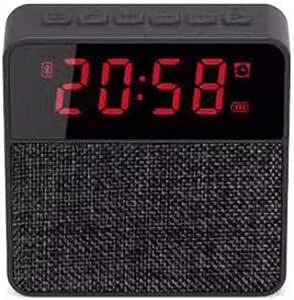 Cloth Clock Bluetooth Speaker Card Bluetooth Speaker Phone Audio Wireless Subwoofer Clock Display,Black