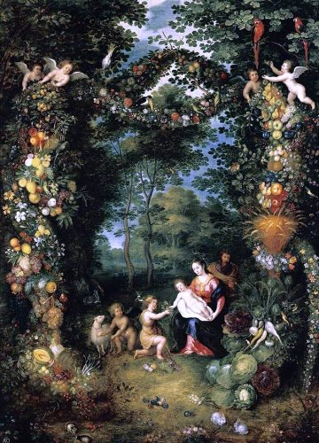 The Younger Jan Bruegel The Holy Family with St John - 24'' x 36'' 100% Hand Painted Oil Painting Reproduction by Art Oyster
