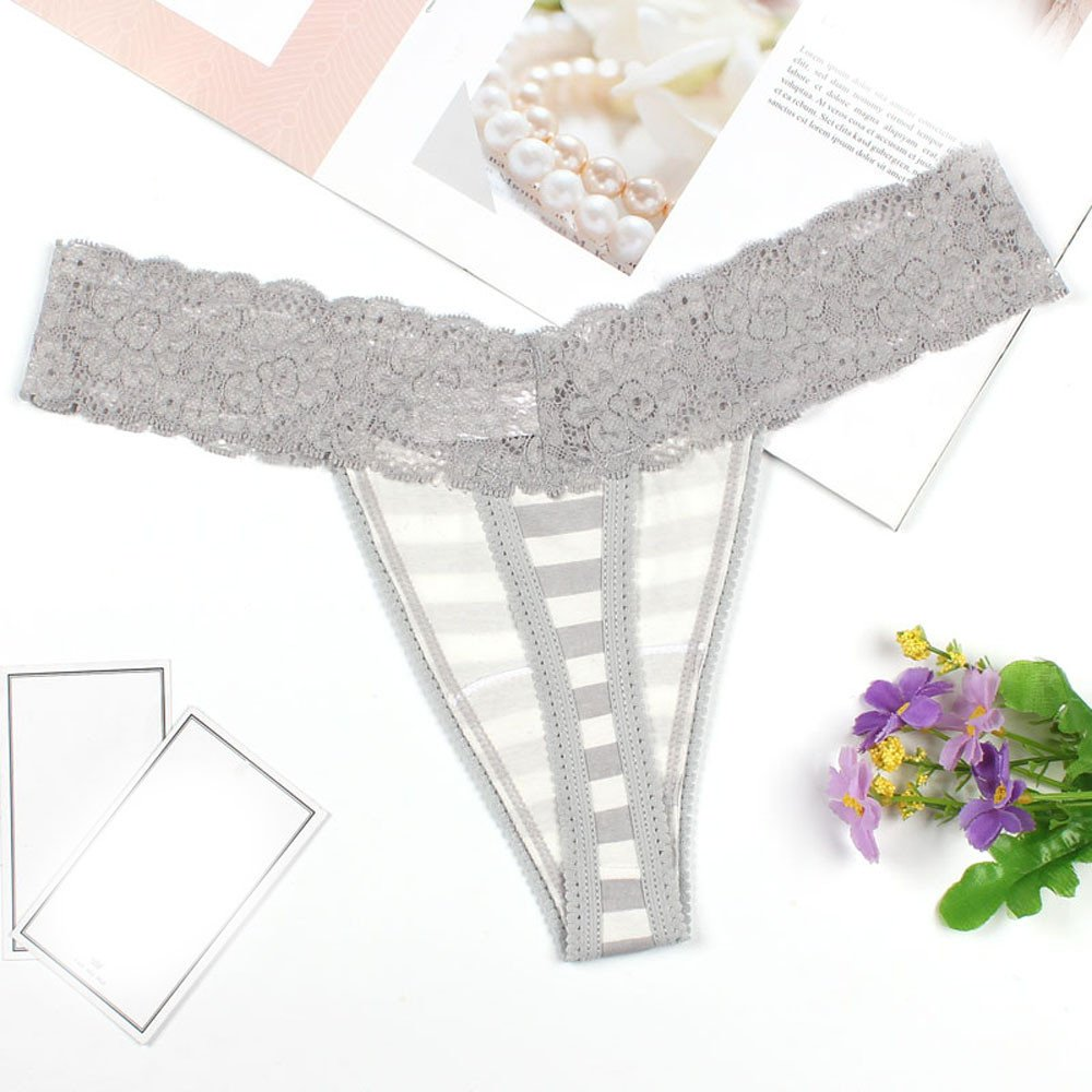 c1acc49ea57 AOmahh Womens Sexy Lingerie G-String Mesh Briefs Lady Underwear Panties  Lace Set Stripe Print Thongs at Amazon Women s Clothing store