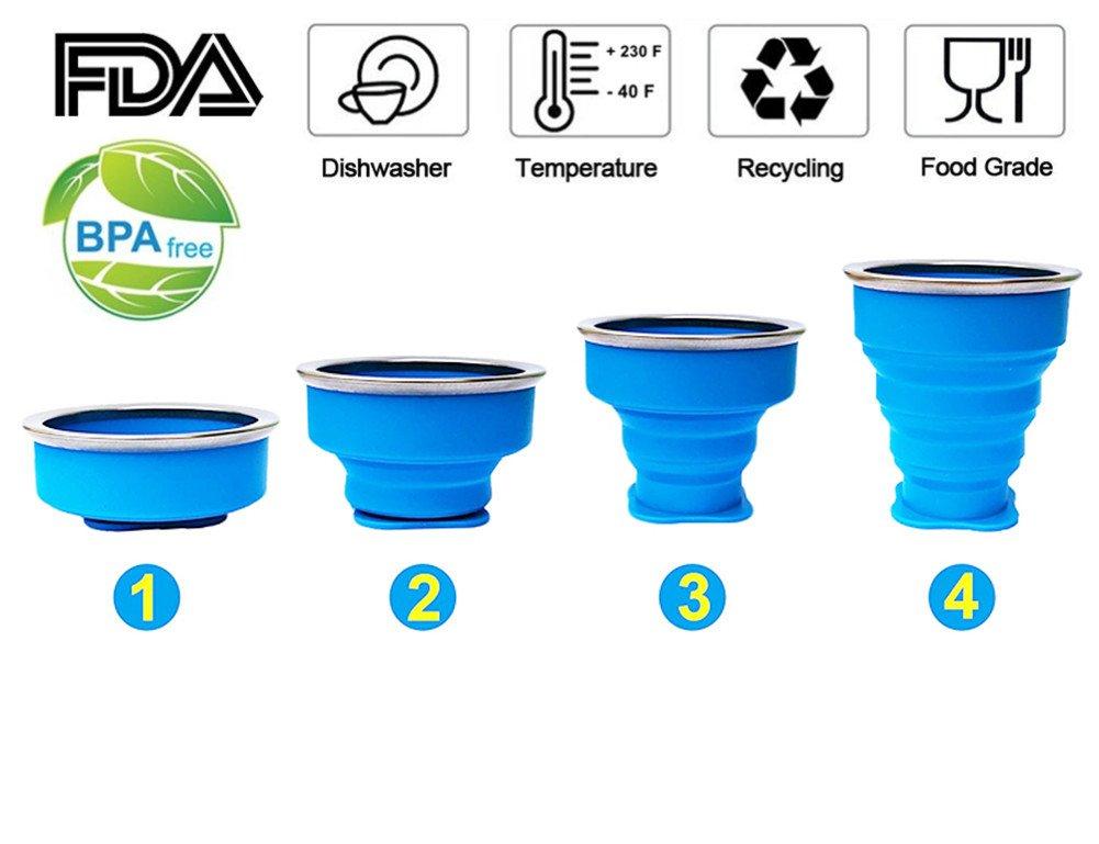 4pcs Vaso Plegable sin BPA Tazas de Caf/é de Silicona Con tapa Copa de Viaje Port/átil Para Senderismo Exterior C/ámping Deportes
