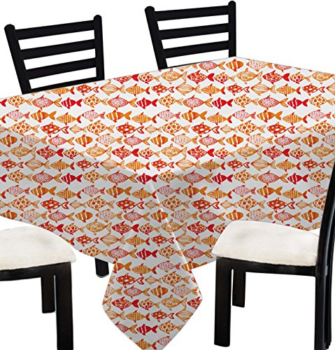 Indian Printed Tablecloth Square for Birthday -100% Cotton Fish Print (Hand Printed Tablecloth)