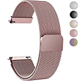 Fullmosa Gear S3 Bands, Milanese Loop 22mm Watch Band/Strap Quick Release Pins Samsung Gear S3 Frontier/S3 Classic Band Moto 360 2nd Gen 46mm Watch Strap/Band, Rose Pink