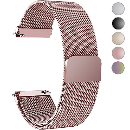 Buckle Gold Mesh (Fullmosa Compatible Gear S3 Bands, Milanese Loop 22mm Watch Band Quick Release Compatible Samsung Gear S3 Frontier/Classic Compatible Moto 360 2nd Gen 46mm Watch Strap, Rose Pink)