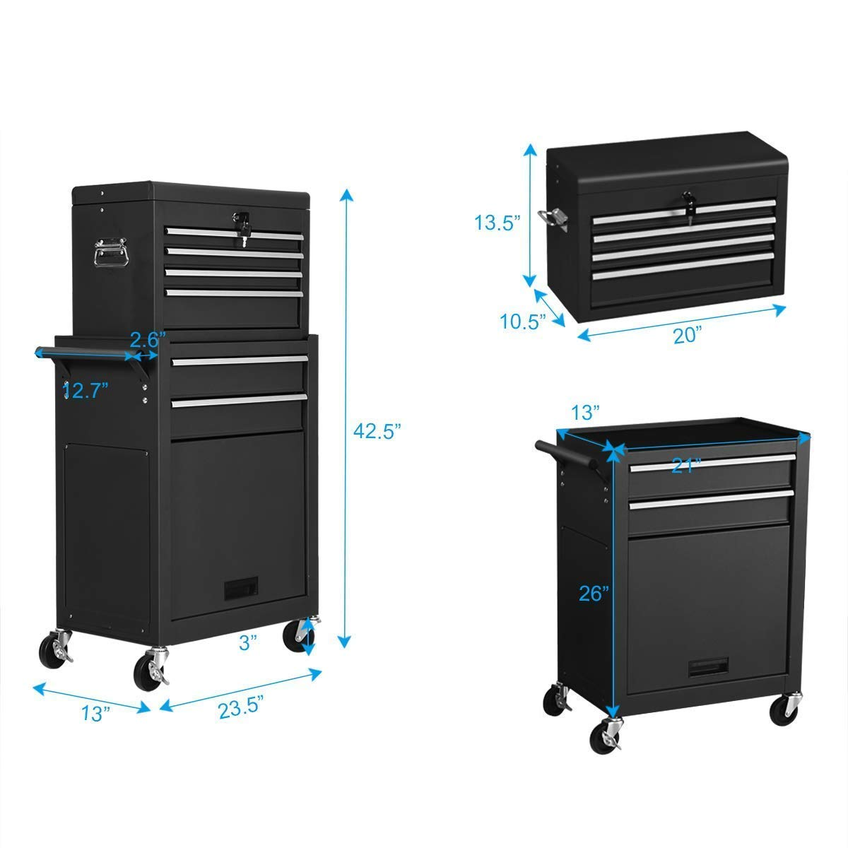 Goplus 6-Drawer Rolling Tool Chest Removable Tool Storage Cabinet with Sliding Drawers, Keyed Locking System Toolbox Organizer (Black) by Goplus (Image #4)