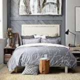 Luxury Printed Duvet Cover Set Modern Microfiber with Zipper Closure and Corner Ties Grey Ivory Branch Pattern Full Queen Size 86