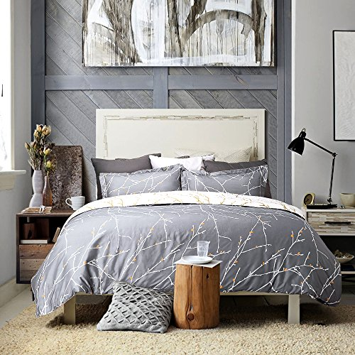 "Luxury Printed Duvet Cover Set Modern Microfiber with Zipper Closure and Corner Ties Grey Ivory Branch Pattern Full Queen Size 86""x96"" with Two Pillow Sham Soft Unique by Bedsure"