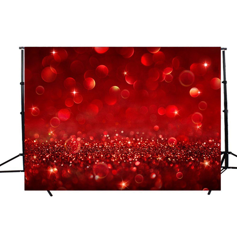 DODOING Valentine's Day Backdrops for Photography 7x5FT Dark Red Glitter Light Spots Bokeh Wall Bling Shine Sparkle Dots Backgrounds Kid Baby Artistic Portrait Wedding Photo Studio Props Backdrop by DODOING