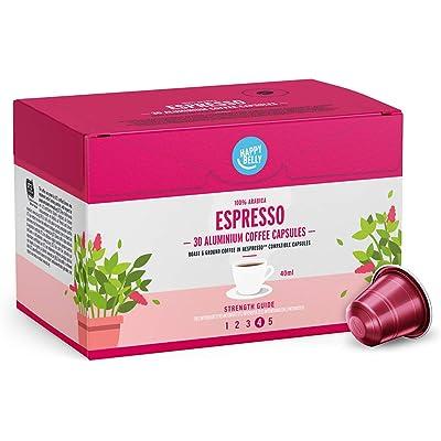Marca Amazon - Happy Belly Espresso Café UTZ molido de tueste natural en cápsulas de aluminio compatibles con Nespresso, 120 cápsulas (4x30)
