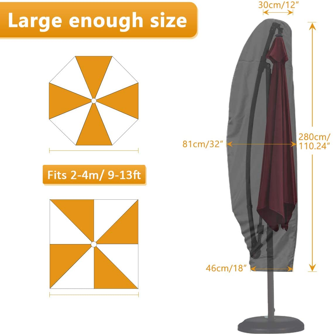 GEMITTO Patio Umbrella Cover, Waterproof Snowproof Outdoor Offset Umbrella Cover with Zipper for 9-13ft Cantilever Parasol Umbrellas, Winter Protection (420D Cantilever Umbrella Cover) : Garden & Outdoor