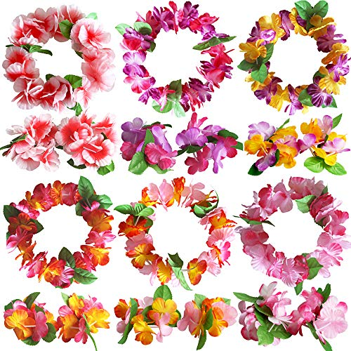 Hawaiian Leis Luau Tropical Headband Flower Crown Wreath Headpiece Wristbands Women Girls Floral Necklace Bracelets Hair Band For Summer Beach Vacation Pool Party Decorations Favors Supplies 18 Pack