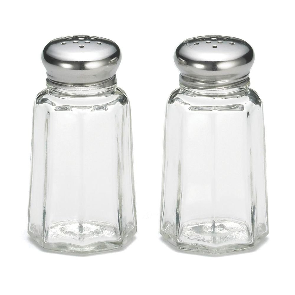 Tablecraft 1 Oz Round Glass Salt & Pepper Shakers with S/S Tops Tablecraft Products
