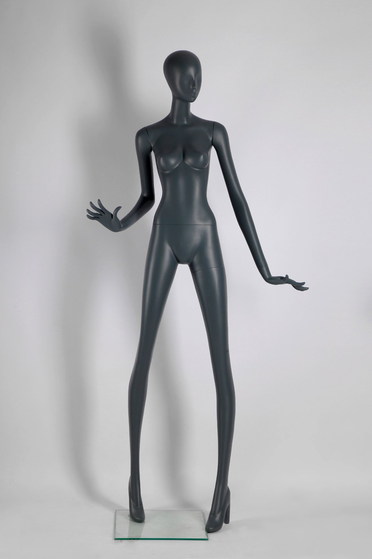 Female Full Body Fiberglass Mannequin Abstract Style, Grey Color (ados5)