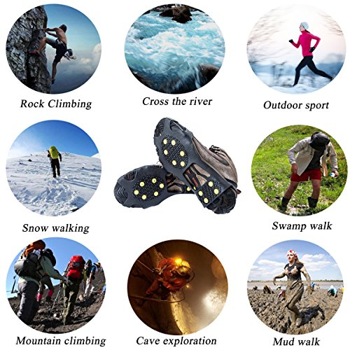 Ice Cleats, HoFire Ice Grips Traction Cleats Grippers Non slip Over Shoe/Boot Rubber Spikes Crampons Anti Easy Slip 10 Steel Studs Crampons Slip on Stretch Footwear