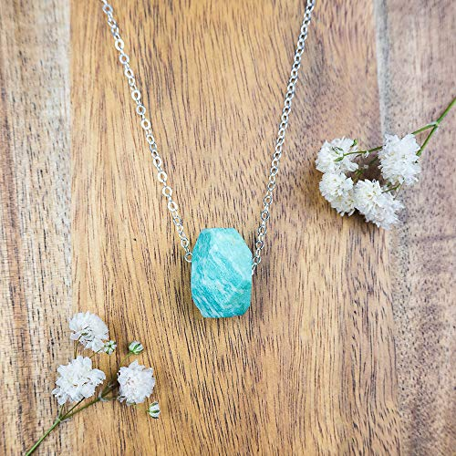 (Small amazonite nugget crystal necklace in 925 sterling silver - 16