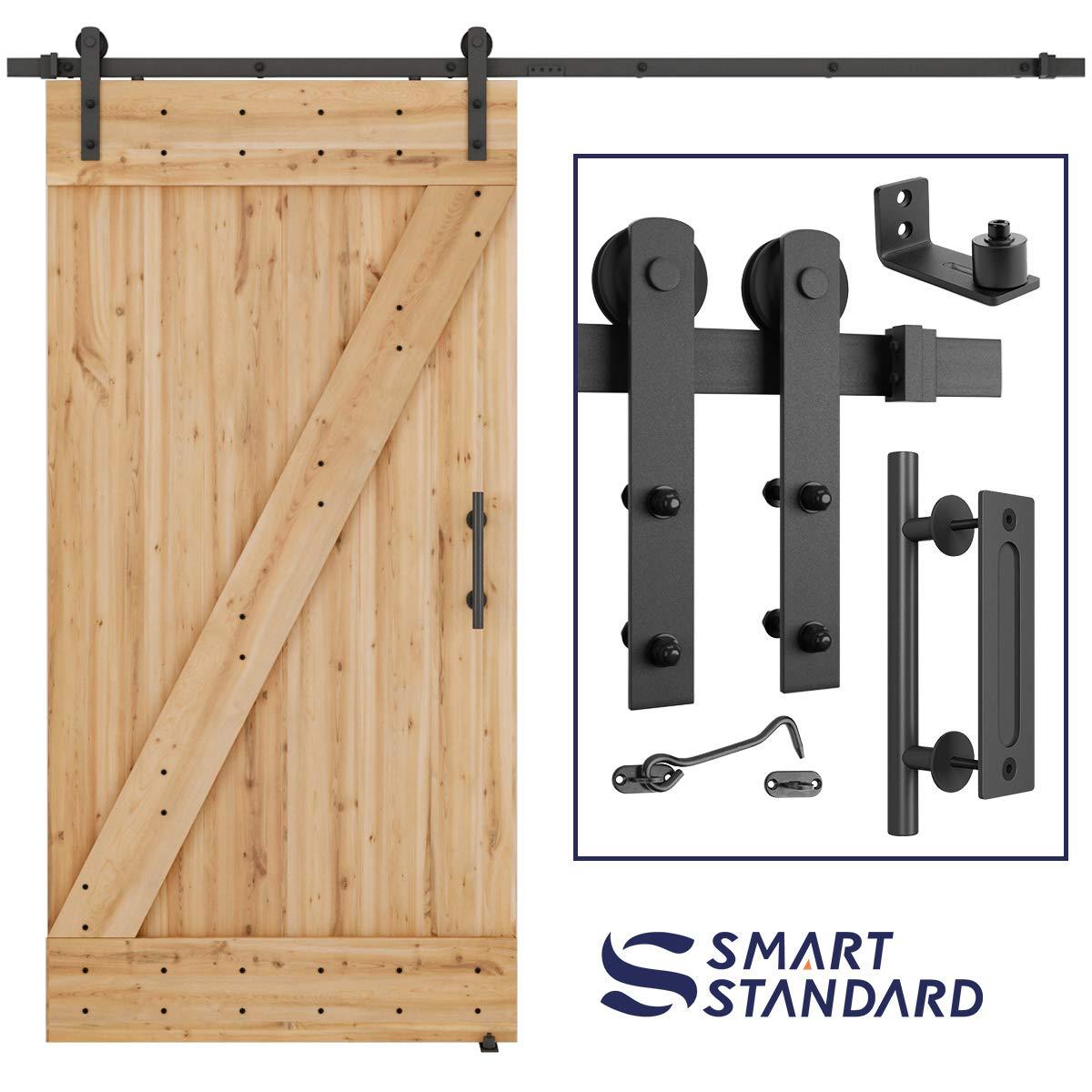 8 FT Heavy Duty Sturdy Sliding Barn Door Hardware Kit, 8ft Double Rail, Black, (Whole Set Includes 1x Pull Handle Set & 1x Floor Guide & 1x Latch Lock) Fit 42''- 48'' Wide Door Panel (I Shape Hanger)