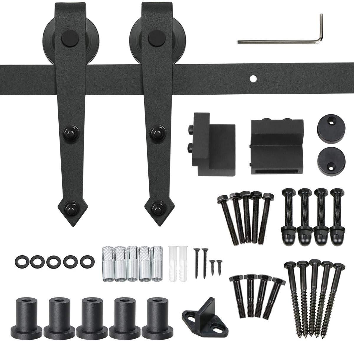 stabil und leise 6FT (183CM) f/ür eint/ürigen Einbau schwarz einfach zu montieren 6FT//183cm Schiebet/ürbeschlag Set,Schiebet/ür set Schiene,Verstellbare Schiebet/ür Schiene Hardware Kit