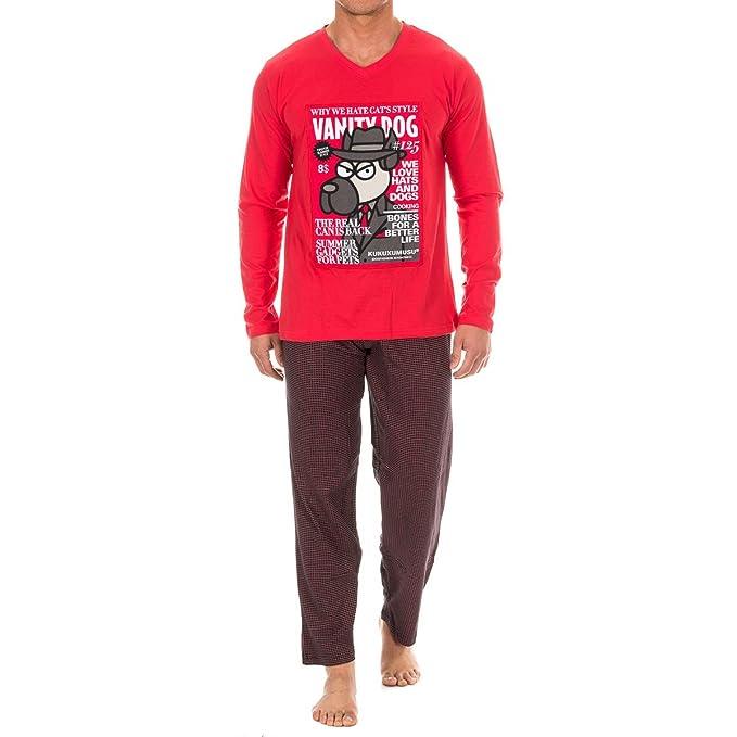 Kukuxumusu - Pijama Chico Hombre Color: Rojo Talla: S