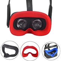 Esimen VR Face Silicone Cover Mask & Face Pad for Oculus Quest Face Cushion Cover Sweatproof Lightproof Comfort Set (Mask Red)