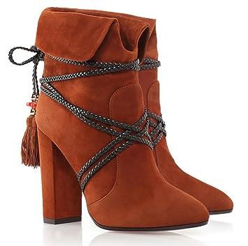 Europeos y americanos hechos a mano correa de gamuza con flecos botas de oficina moda mujer