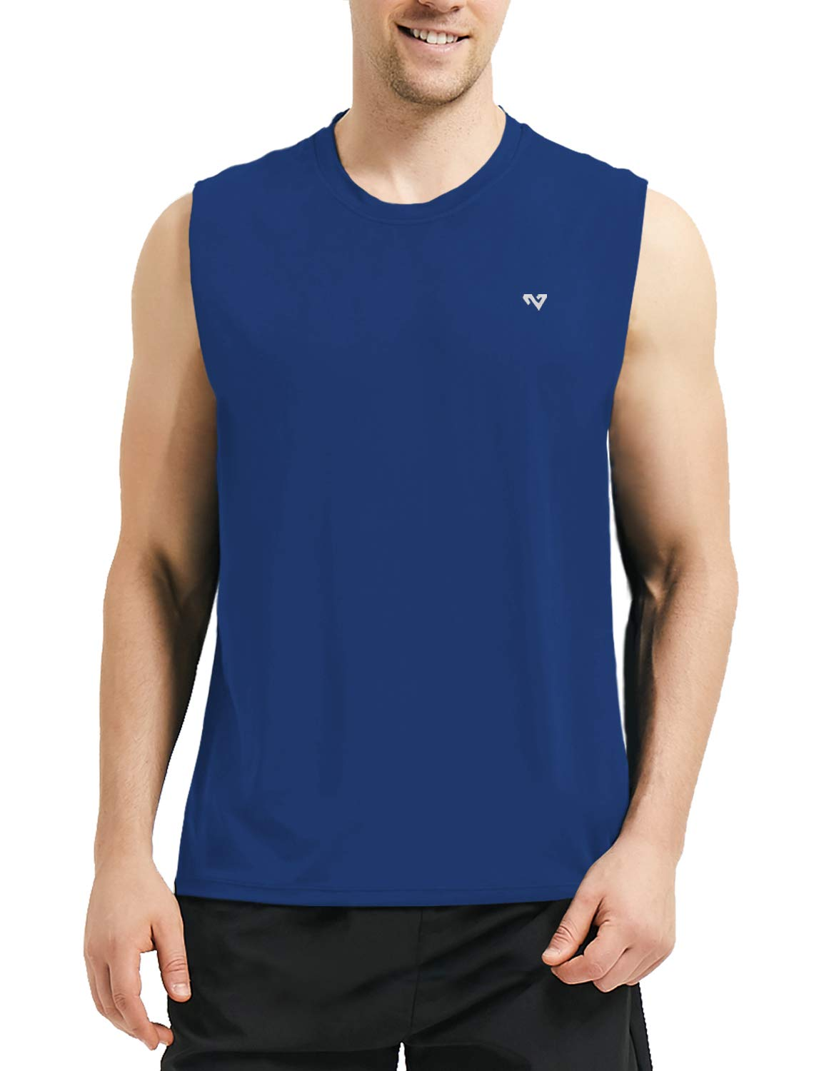 Roadbox Men's Performance Sleeveless Workout Muscle Bodybuilding Tank Tops Shirts Royal Blue by Roadbox