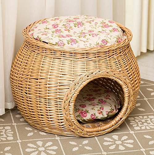 - Pet Home M Size Handmade Wicker Basket Cat Bed Cave Dog House Rattan Furniture Kennel Two Level Perfect Kitten Gift with Cushions and Mats Free