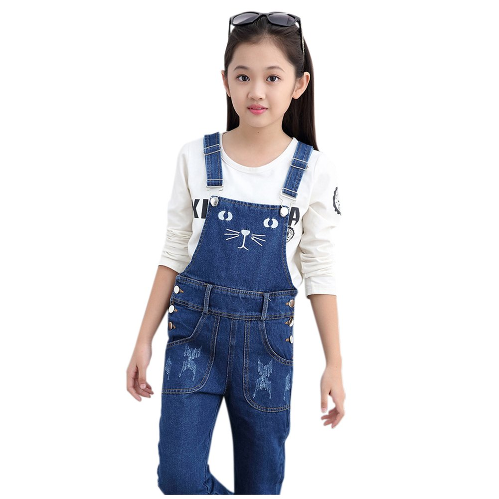 Girls Overalls Denim Jeans Cat Pattern Pants Kids Straight Trousers by Alician