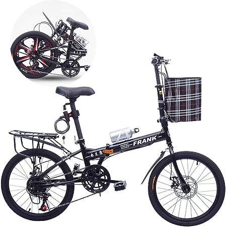 Unisexo Bicicleta Plegable 20 Pulgadas 7 Velocidad Disco Ligero Freno de Disco Doble Aleación de Aluminio Rueda de radios Estudiante Niño Ciudad del Viajero Bicicleta con Cesta y portabidón,Black: Amazon.es: Hogar
