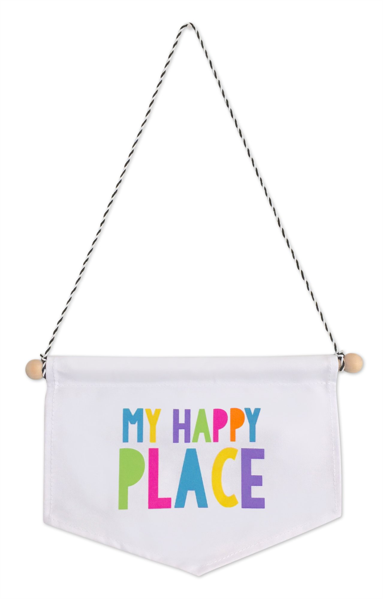 Tiny Hideaways My Happy Place Canvas Banner for Kids Playroom, Bedroom, and Teepee Tent by