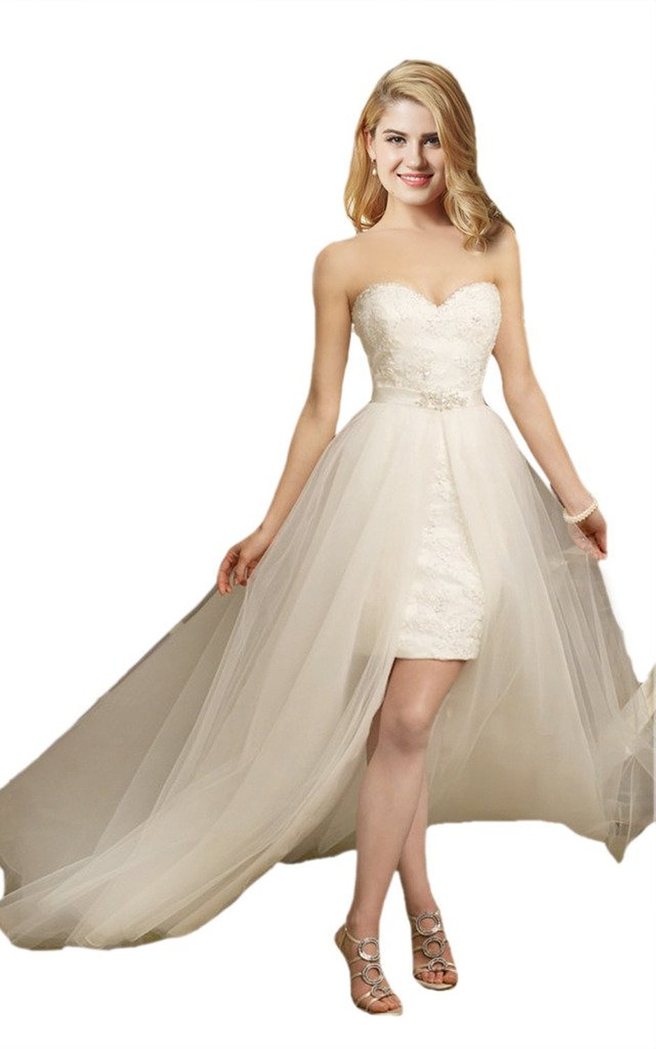 Fanciest Women's Short Lace Wedding Dresses with Tulle Detachable Skirt White US6