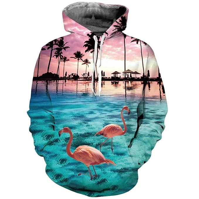 Flamingo 3D Sudadera con Capucha Sudaderas Hombres Mujeres Sudadera con Capucha Vacaciones Playa Árboles de Coco Chándales de otoño Blusas con Capucha Homme ...