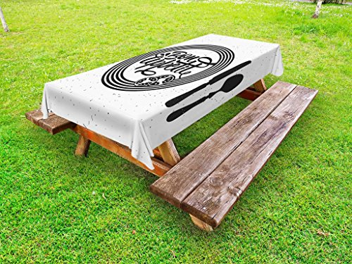 (Lunarable Bon Appetit Outdoor Tablecloth, Cutlery and Utensils with Tomato Slices Monochrome Grunge Words, Decorative Washable Picnic Table Cloth, 58