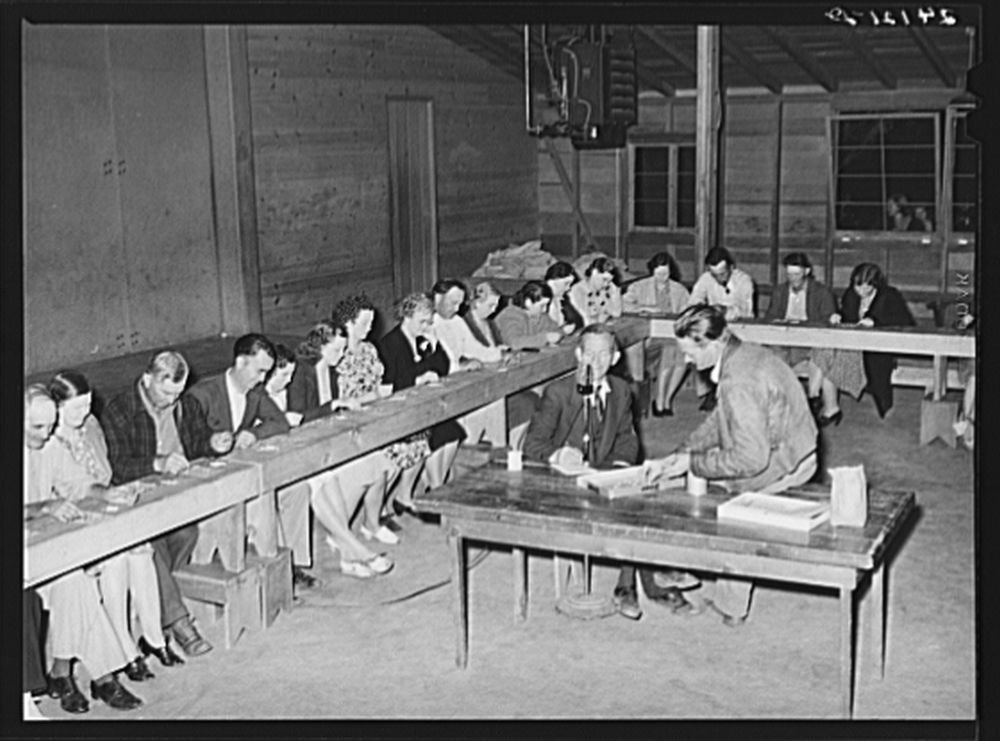 Bingo game. Tulare migrant camp. Visalia, California by Historic Photos