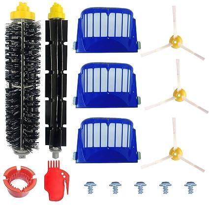 Kit Cepillos Repuestos de Accesorios para Aspiradoras iRobot Roomba Serie 600 605 610 615 616 620 625 630 631 632 639 650 651 660 670 671 680 681 691-15PCS: ...